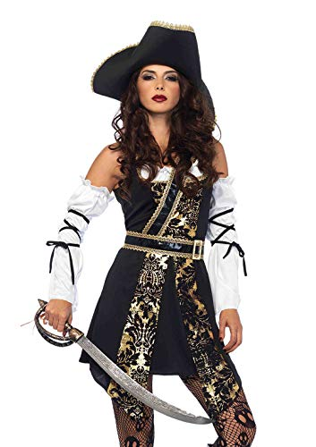 Piratin Kostüm Schwarz Gold - Leg Avenue 85563 4 teilig Set