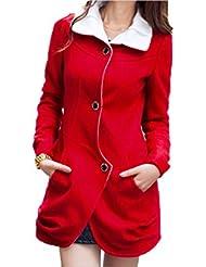 ZQQ Otoño/invierno damas color sólido delgado manga larga solapa doble botonadura lana abrigo , red , m