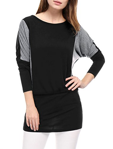 M (US 10) , Black : Allegra K Women's Color Block Batwing Sleeves Blouson Tunic Top