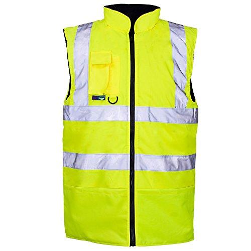Hi Viz Wende Weste -Waterproof Jacke Warm Workwear Herren Mantel Sicherheit - YELLOW with reflective strips