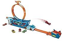Hot Wheels DWN56 - Stunt N Go Transporter und Track-/Auto Spielset, mit Looping für 19 Spielzeugautos, Spielzeug ab 4 Jahren