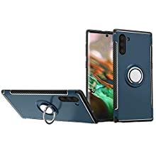 Galaxy Note10 Case, Rotating Ring [ 360 ° Kickstand] Carbon Fiber [Dual Shockproof] Protection Cover [Magnetic Car Mount] for Samsung (Note 10, Navy)