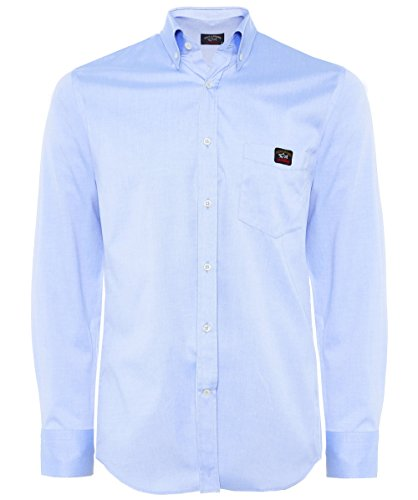 Paul & shark uomo camicia in cotone oxford blu chiaro eu 43