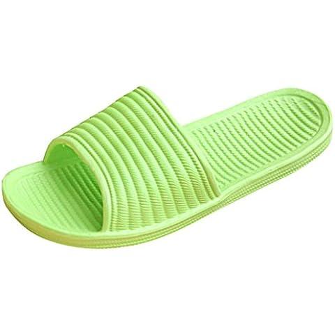 Fortan Le donne a strisce piatto Vasca da bagno Pantofole estate sandali pantofole Indoor & (Verde Womens Sandali)