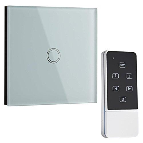 GuDoQi Touch Lichtschalter 1 Gang 1 Weg Kratzfestes Ferngesteuertes Wandglas Mit Led Anzeige Einfach Zu Installieren Ein Aus Lichtschalter