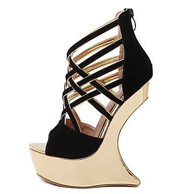 LvYuan Da donna-Sandali-Serata e festa Formale-Innovativo Club Shoes Comoda-Plateau-Scamosciato-Nero Rosso Black