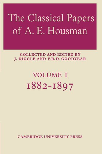 The Classical Papers of A. E. Housman: 1882, used for sale  Delivered anywhere in UK
