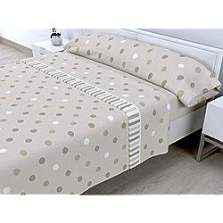 Cabetex Home - Juego de sábanas termicas de pirineo - 3 Piezas - 120 Gr/m2 - Mod. MELL (Beige, 90_x_190/200 cm)