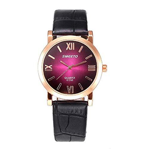 Frauen Uhren,Moeavan Damenuhren auf Verkauf Räumungs Teen Mädchen Mode Kleid Handgelenk Quarzuhr mit Leder Band Farbe Licht Einzigartige einfache Casual Quarz Klassische Armbanduhr (Pink)