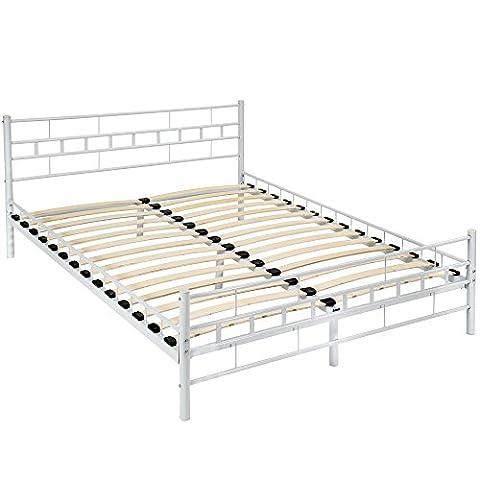 TecTake Lit en métal design double 2 places cadre de lit + sommier à lattes 140x200cm blanc