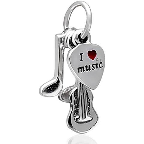 I Love Musica gioielli ciondolo in argento Sterling 925per braccialetti Pandora - Musica Nota Charm