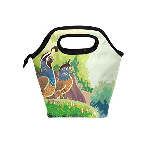 Animal caille Oiseaux Vert repas isotherme Sac fourre-tout pour femme Lunch Box Cooler avec fermeture à glissière pour adultes/enfants filles, garçons, hommes
