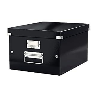 Leitz, Mittelgroße Aufbewahrungs- und Transportbox, Schwarz, Mit Deckel, Für A4, Click & Store, 60440095