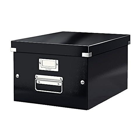 Leitz, Mittelgroße Aufbewahrungs- und Transportbox, Schwarz, Mit Deckel, Für A4, Click & Store,