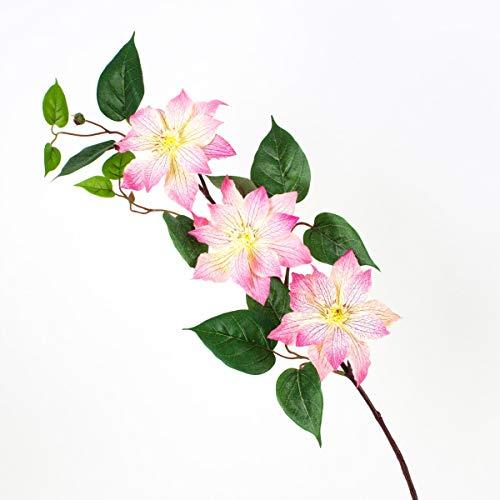 artplants Set 12 x Künstlicher Clematiszweig SALIYA, rosa-pink, 80 cm, Ø 14 cm – 12 Stück künstliche Blume/Kunstblume Dekozweig