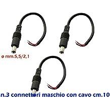 3x cable alargador de 10 cmde alimentador con tira LED con conector macho de.5,5/2,1 mm de diámetro