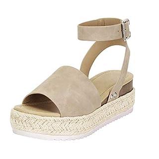 YEARNLY Mode Schuhe Casual Damengummisohle mit Nietenbesetzte Keilschnalle Knöchelriemen Open Toe Sandalen Hausschuhe Sandalen Strandschuhe High Heels Schwarz, Khaki, Gelb 35-43