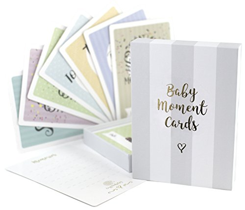 Baby Milestone Cards & Keepsake Box – 40 unisex landmark moment photo cards including pregnancy & key age markers– Perfect baby shower gift set with original pastel coloured designs by COZY HEDGEHOG