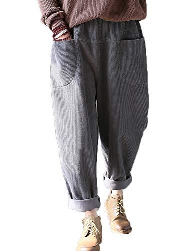 Vogstyle Damen Cordhose mit Einzigartige Taschen (one Size, 3-Grau)