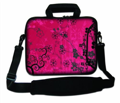 Luxburg® Design Laptoptasche Notebooktasche Sleeve mit Schultergurt und Fach für 15,6 Zoll, Motiv: Sakura pink