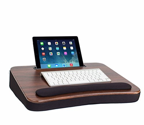 Sofia and Sam All Purpose Lap Desk with Tablet Slot | Memory Foam Cushion | Laptop Desk | Travel Desk | Lapdesk (Wood Top)