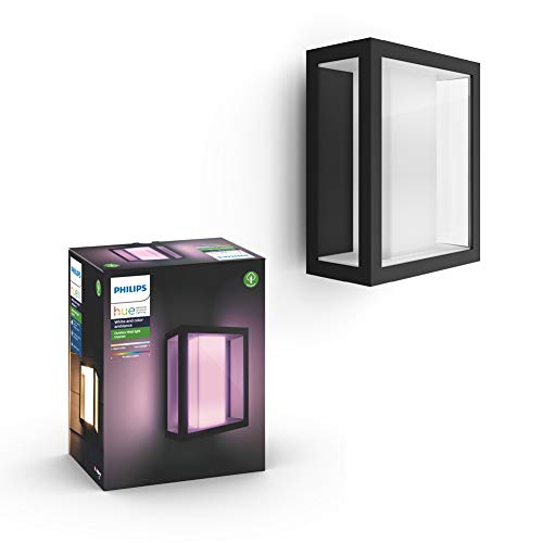 Philips Hue White and Colour Ambiance LED Impress Hue Wall Lantern Wide, Black, Compatible with Alexa