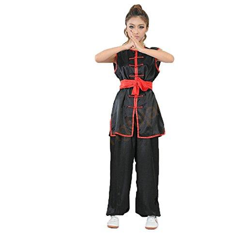 Unisex Ärmellos Martial Arts Uniform Kung Fu Anzug Traditionelle Chinesische Kostüme schwarz schwarz xxl