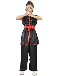 Artes Marciales de Unisex sin mangas traje de Kung Fu chino tradicional Disfraces, negro
