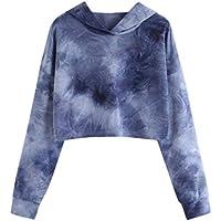 Damen Sweatshirt,Geili Langarmshirt Damen Hoodie Gedruckt Patchwork Sweatshirt Langarm Pullover Tops Bluse Crop... preisvergleich bei billige-tabletten.eu
