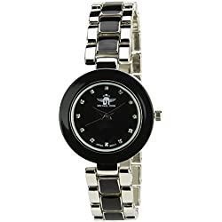Women's Watch MICHAEL JOHN Black Quartz Steel Case Analogue Display Steel Band Black Silver