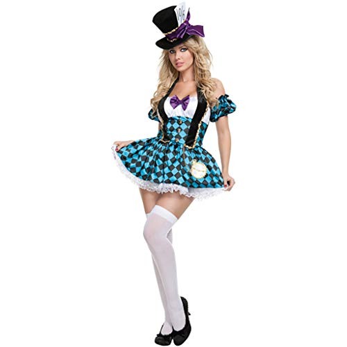 QWEASZER Halloween Mad Hatter Damen Kostüm Tea Party Cosplay Erwachsene Kostüm Sexy Maid Uniform Spiel Cos Prom Bar Tanzen Kleid,Blue-M