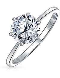Bling Jewelry 925 Ronda CZ Solitaire anillo de compromiso