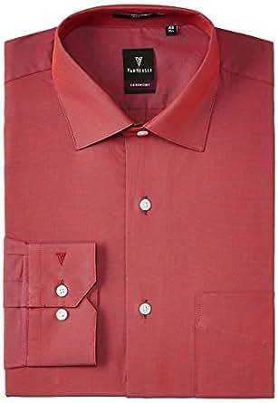 Van Heusen Men's Business Shirt (8907355523432_VHSF515M05097_44_Light Red Solid)