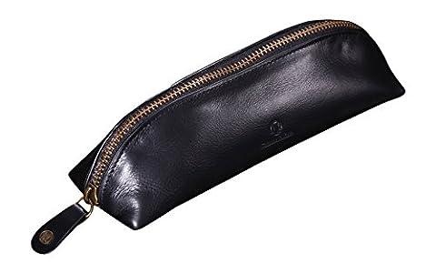 Cronus & Rhea® | Luxus Federmappe aus exklusivem Leder (Scylla) | Federmäppchen - Mäppchen - Stifteetui - Stiftetasche | Echtleder | Mit eleganter Geschenkbox | Herren - Damen (Schwarz)