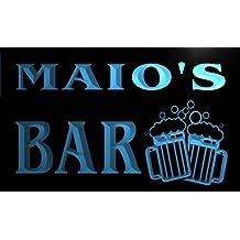 w015930-b MAIO'S Nom Accueil Bar Pub Beer Mugs Cheers Neon Sign Biere Enseigne Lumineuse