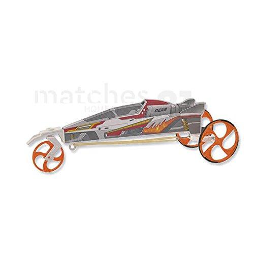 matches21 Rennauto Flitzer Auto mit Zahnrad-Gummimotor 24 cm Bausatz 1 Stk. Kinder Werkset Bastelset ab 8 Jahren