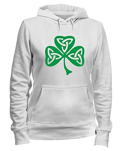 Speed Shirt Kapuzen-Sweatshirt Frauen Weiss TIR0019 Celtic Shamrock