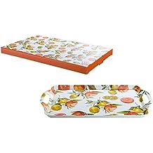 GILDE Bandeja de servir Pequeña de melamina decorado con Naranjas y Limones, 37,5x23