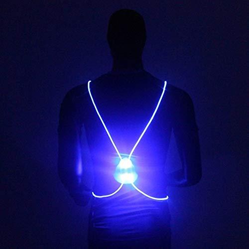 Remaxm LED Reflektierende Weste, LED Laufweste & Gürtel, LED Beleuchtung Sicherheitsweste Gurt Jacke, Sicherheitsgurt Gurt für Nacht, Laufen, Radfahren blau