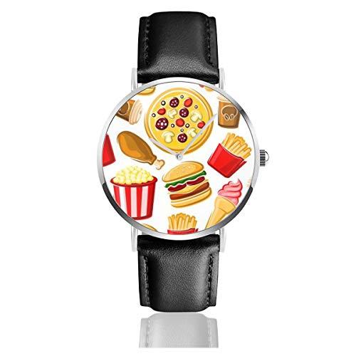 Men's Ultra Thin Fashion Minimalist Wrist Watches White Pepperoni Pizzas Burgers French Fries Fried Chicken Ice Cream Popcorn Waterproof Quartz Casual Watch Mens