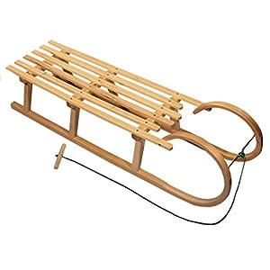 BAMBINIWELT Holzschlitten Hörnerrodel mit Zugseil, aus naturlackierten Buchenholz, Metallkufen,100cm