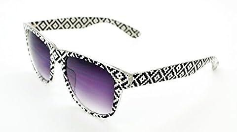 VOX Stylish Lightweight Durable Quality Mens & Womens Trendy Retro Wayfarer Sunglasses w/FREE Microfiber Pouch - Black/White Pixel Pattern Frame - Smoke