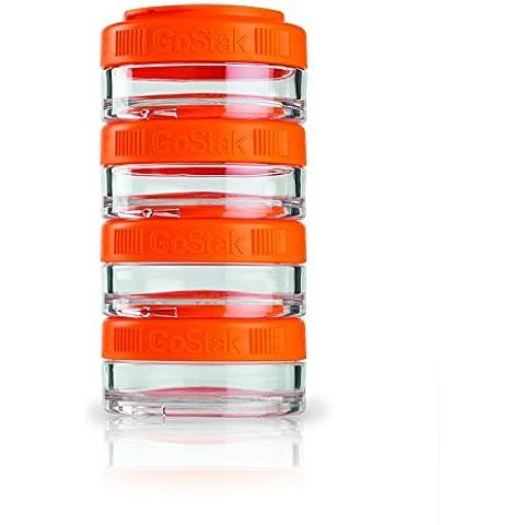 BlenderBottle GoStak 2Pak - Contenedor de la nutrición de acampada y senderismo,  150ml, naranja - (2x 150ml)