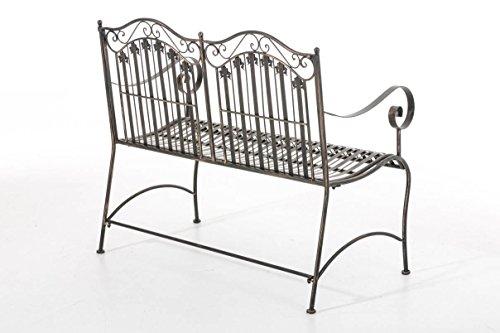 CLP Metall-Gartenbank RONJA im Landhausstil, Eisen lackiert, 108 x 55 cm, 2er Sitzbank Bronze - 3