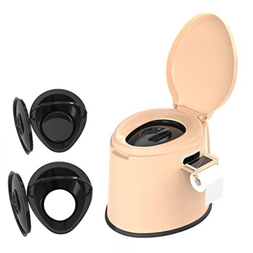 LI JING SHOP - Portable Toilette Chaise peut déplacer Toilette Squat Toilette à double usage pour les Enfants et Femmes Enceintes Intérieur Barrel X2 Environmental PP Résine 41X50X39cm Couleur: Kaki ( Couleur : Non-slip rubber ring )