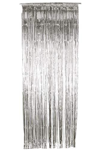 Smiffys Cortina con Brillo, Plateada, metálica, 91cm x 244cm