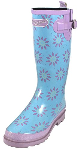 Womens/Ladies Footwear Blue Wellington Boots With Purple Floral Print, UK: 6, EUR: 39