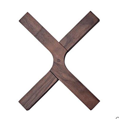 ZLR Kreativ rutschfest Bambus Holz Hacker importiert schwarze Walnuss Matratze Untersetzer 21CM japanischen Falten X Typ (Schwarzer Bambus Stuhl)