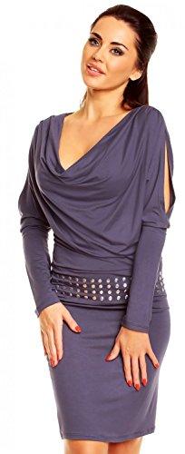 Zeta Ville - Robe fourreau à col bénitier - fente bas de manches - femme - 916z Bleu Gris