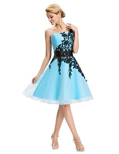 fashion damenkleider festlich karnevalskostüm brautjungfernkleid blau knielang abendkleid Größe...
